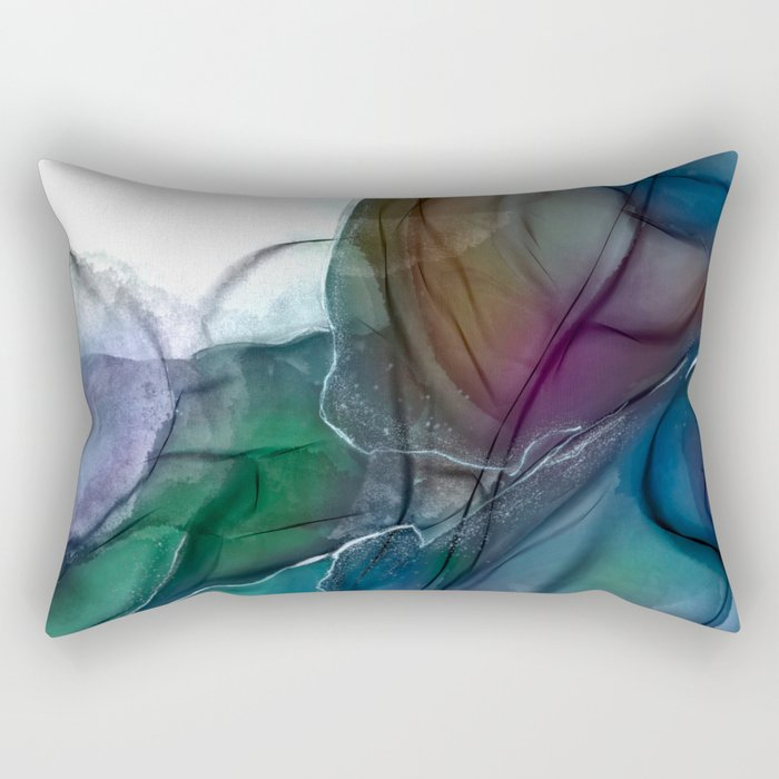 Pools - Sapphire and Emerald Abstract Rectangular Pillow