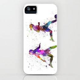 Girls playing soccer football player silhouette iPhone Case