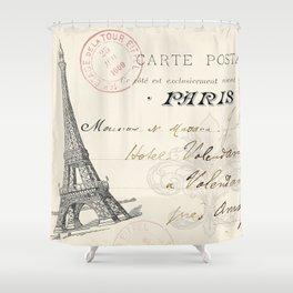 I Love Paris Postcard Shower Curtain