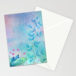Ethereal garden watercolor painting Stationery Cards