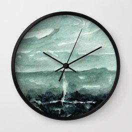 Green Calcite Crystal Watercolor Wall Clock