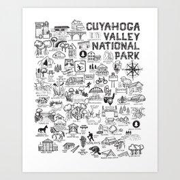 Cuyahoga Valley National Park Map Art Print