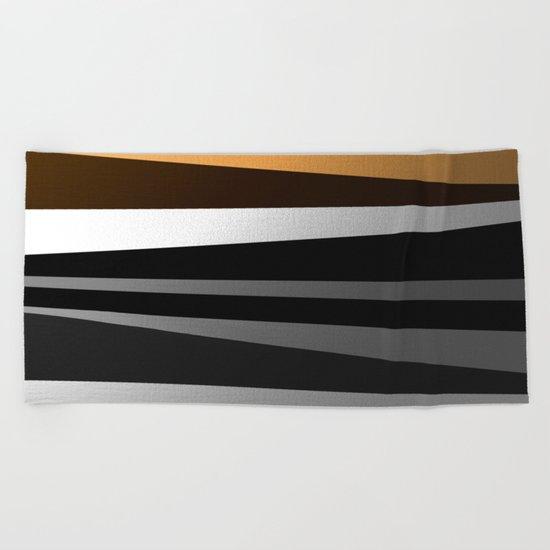 Metallic II - Abstract, geometric, metallic effect stripes, gold, silver, black Beach Towel