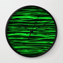 Lime Green and Black Stripes Wall Clock