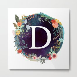 Personalized Monogram Initial Letter D Floral Wreath Artwork Metal Print
