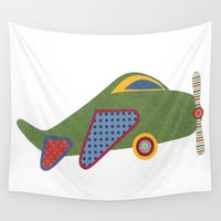 airplane Wall Tapestries featuring Kids Airplane by ZaMo Arts