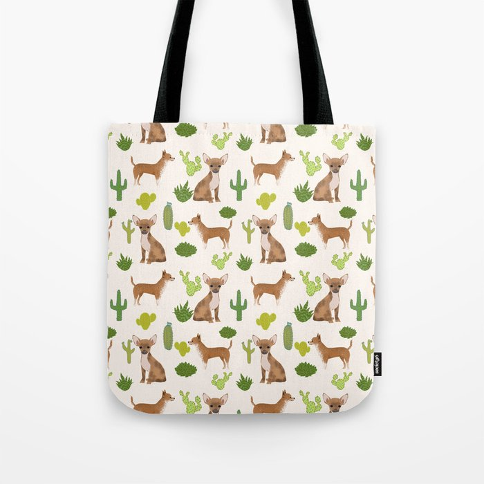 Chihuahua love kids fur baby pet friendly pet portraits dog breed art print cactus decor dog person  Tote Bag