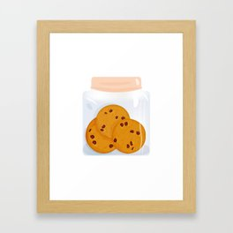 Chocolate chip cookie, homemade biscuit in glass jar Framed Art Print