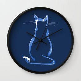 Sitting Cat from behind in Blue Wall Clock