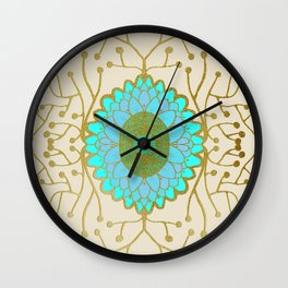 Turquoise and Gold Sunflower Wall Clock