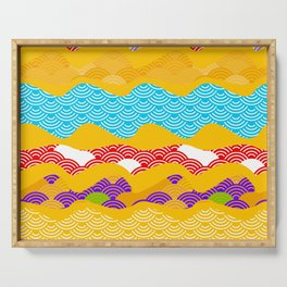 Summer bright pattern  scales simple Nature background with Chinese wave circle pattern Serving Tray