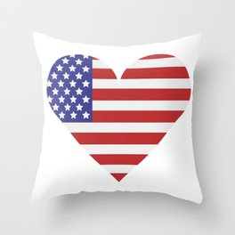 united states flag with heart Throw Pillow