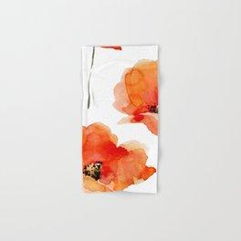 Modern hand painted orange watercolor poppies pattern Hand & Bath Towel