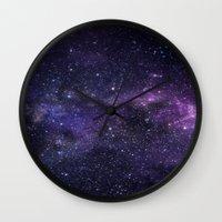 cosmic Wall Clocks featuring Cosmic by Marta Olga Klara