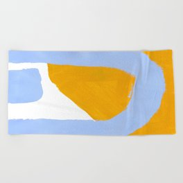 Minimalist Abstract Colorful Shapes Yellow Pastel Blue Mid Century Art Beach Towel