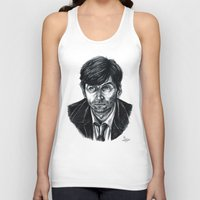 david tennant Tank Tops featuring David Tennant as Broadchurch's Alec Hardy (or Gracepoint's Emmett Carver) (Graphite) Portrait  by ieIndigoEast