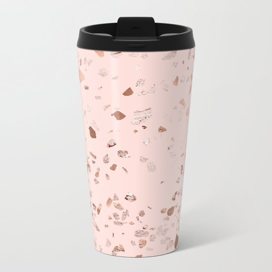 Rose Gold Pink Terrazzo Metal Travel Mug