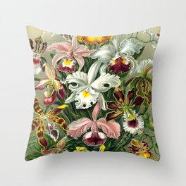 Vintage 1865 Botanical Orchids Throw Pillow