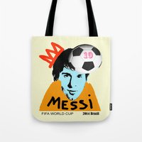 messi Tote Bags featuring Messi by SNACKONART
