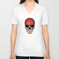 indonesia V-neck T-shirts featuring Dark Skull with Flag of Indonesia by Jeff Bartels
