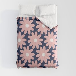 Crayon Flowers Smudgy Pastel Floral Pattern 2 in Pink and White on Navy Blue Comforters
