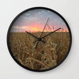 Corn Maze Sunset Wall Clock