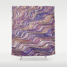 tia - abstract wave design in cool tones champagne pink blue mauve purple Shower Curtain