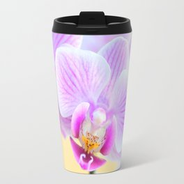 Pink and White Orchid - Flowers with Golden background Travel Mug