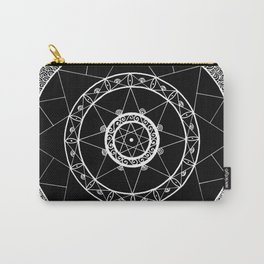 Zen Star Mandala - Black White - Square Carry-All Pouch