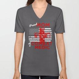 Proud Mom of a Combat Medic Distressed Flag Unisex V-Neck