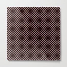 Black and Canyon Rose Polka Dots Metal Print