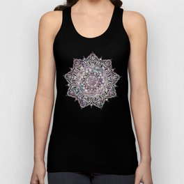 Dreaming Mandala - Magical Purple on Gray Unisex Tank Top