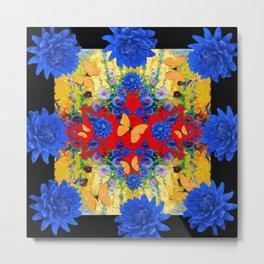 BLACK YELLOW GARDEN BLUE  FLOWERS YELLOW BUTTERFLIES Metal Print