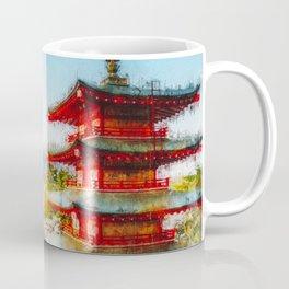Temple at Mount Fuji Digital Oil Painting Coffee Mug
