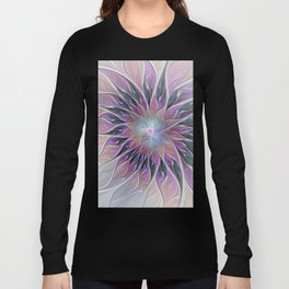 Fantasy Flower, Colorful Abstract Fractal Art Long Sleeve T-shirt