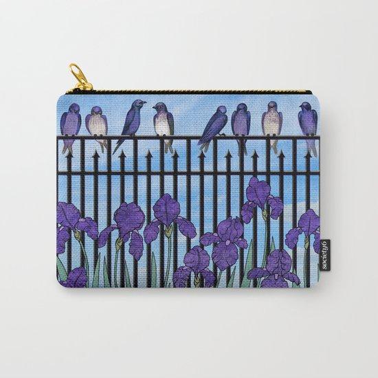 purple martins & purple irises Carry-All Pouch