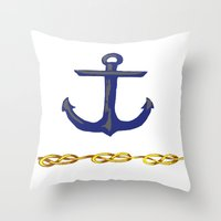 nautical Throw Pillows featuring Nautical by DesignSam