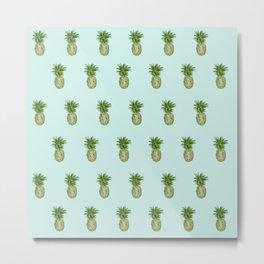 Blue Pineapple Pattern Metal Print