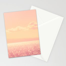Dreamy Champagne Pink Sparkling Ocean Stationery Cards