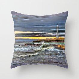 High tide at Seaburn Sunderland Throw Pillow