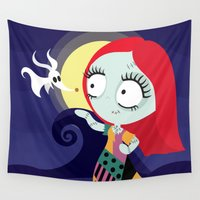 nightmare before christmas Wall Tapestries featuring Sally from Nightmare before Christmas  by Piccolinart