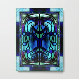 Blue and Aqua Stained Glass Victorian Design Metal Print