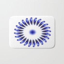 Abstract Blue Petals Kaleidoscope Art 1 Bath Mat