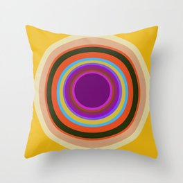 Mod World Circles on Gold Throw Pillow