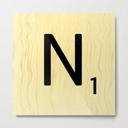 Scrabble N Art, Large Scrabble Tile Initials Metal Print