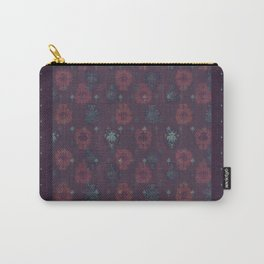 Lotus flower patchwork with green border, woodblock print style pattern Carry-All Pouch