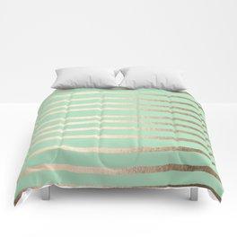Stripes Metallic Gold Mint Green Comforters