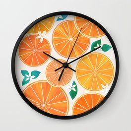 Orange Slices With Blossoms Wall Clock