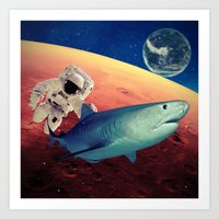 shark Art Prints featuring Shark by Cs025