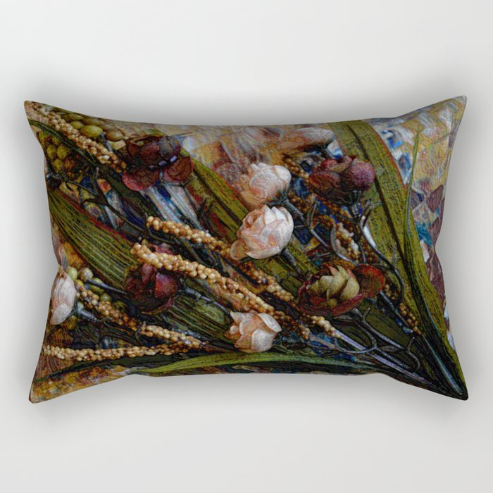 Sweetheart Roses, Contemporary Art, Floral Art Rectangular Pillow